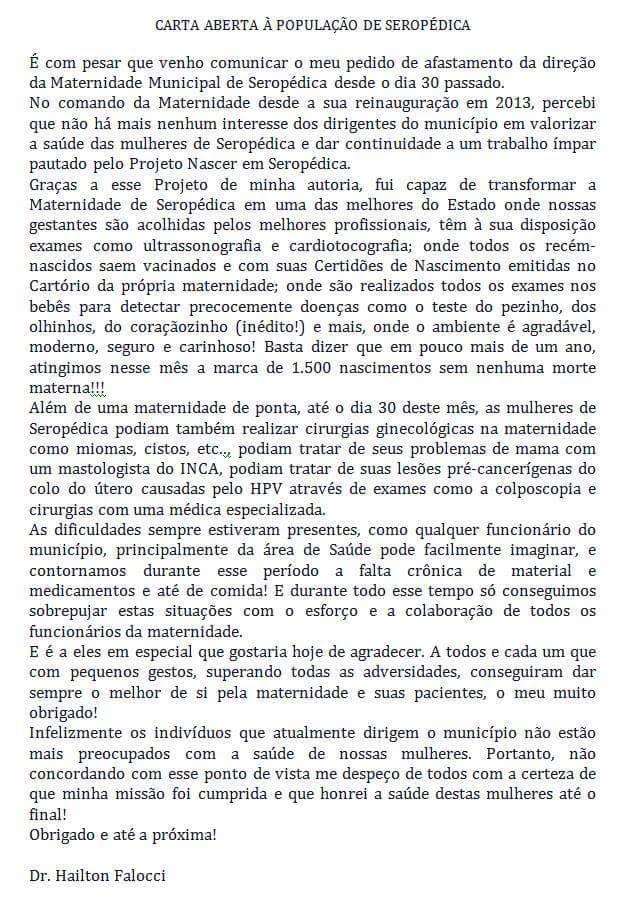 Carta Aberta à população do Dr. Hilton Falocci