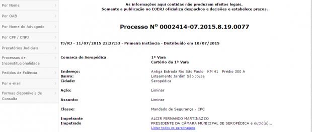 reprodução da consulta processual