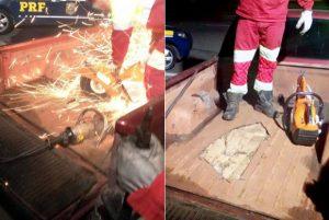 Os policiais da PRF e equipes da CCR Nova Dutra precisaram usar uma serra para abrir a lataria da caçamba